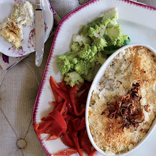 Artichoke Dip with Crispy Shallots.