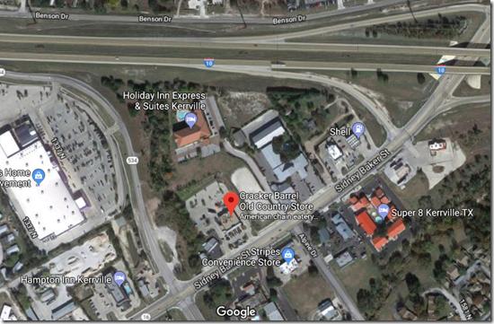 Google Map, Satellite view, Kerryville Texas Cracker Barrel