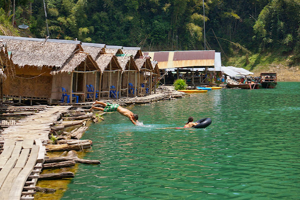 Floating raft houses in the beautiful Khao Sok National Park