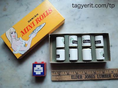 Miniature toilet paper rolls gag