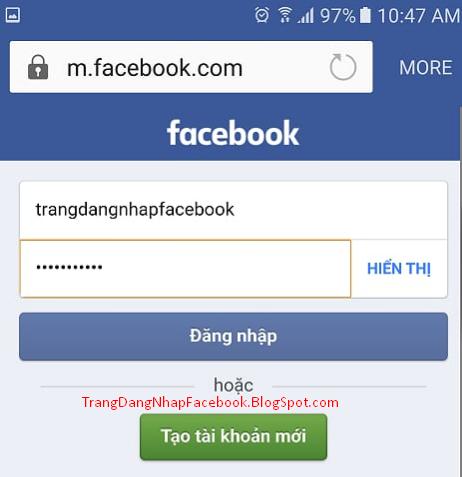 Điền thông tin đăng nhập Facebook