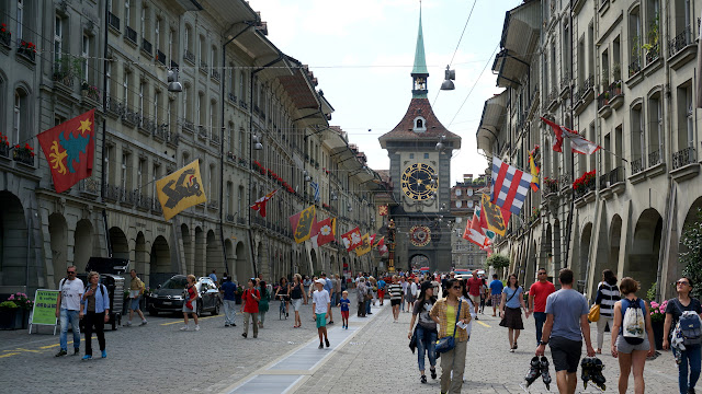 beautiful Kramgasse street in Bern, Switzerland in Bern, Bern, Switzerland
