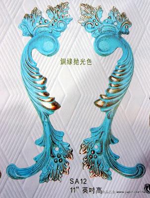 裝潢五金品名:SA12-古典花型大把手規格:300m/m材質:銅製品顏色:銅綠拋光色售價:$2500/支玖品五金