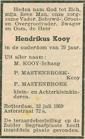 Kooij, Hendrikus Overlijdensadvertentie 12-07-1959 Rotterdam.jpg