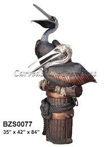 Bronze, Pair, Pelican, Statue