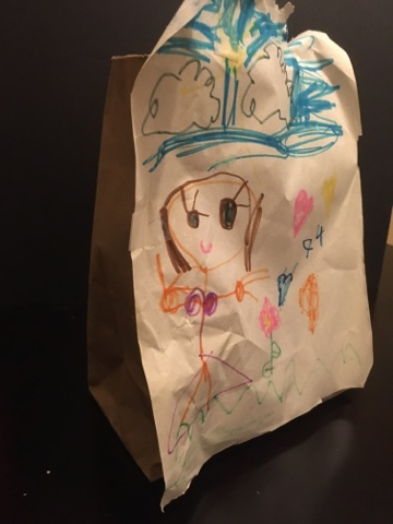 A gift bag my preschooler made.