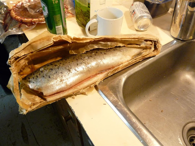 The Landlocked Salmon (a freshwater variety of Atlantic Salmon that thrives in the Manicouagan) we ate one evening.