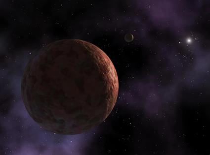 ilustração do peculiar planeta anão Sedna
