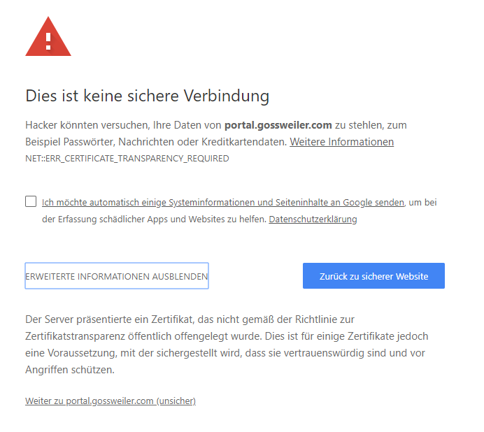 Google Chrome NET::ERR_CERTIFICATE_TRANSPARENCY_REQUIRED - Google ...