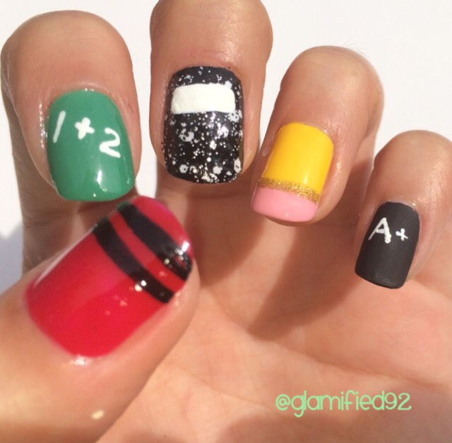 glamified92: Back to School NAIL art - no tools needed 2015