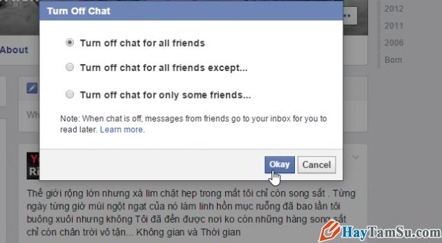 tắt chức năng chat facebook
