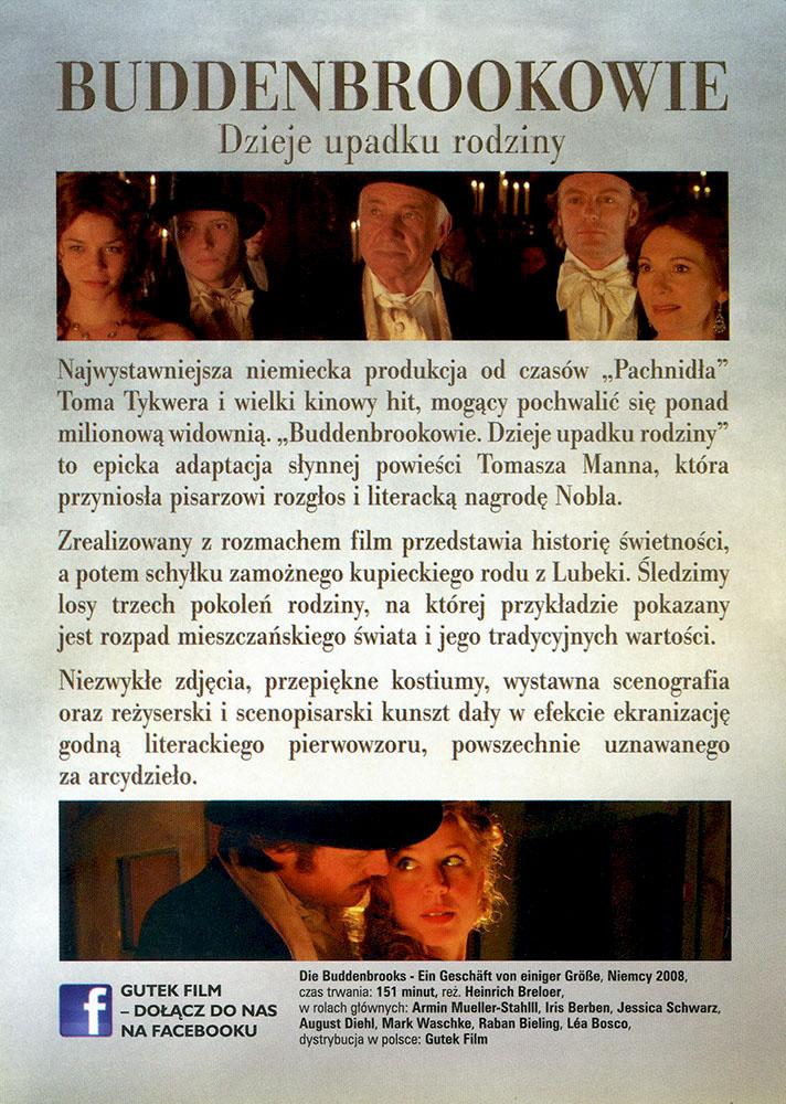 Ulotka filmu 'Buddenbrookowie. Dzieje Upadku Rodziny (tył)'