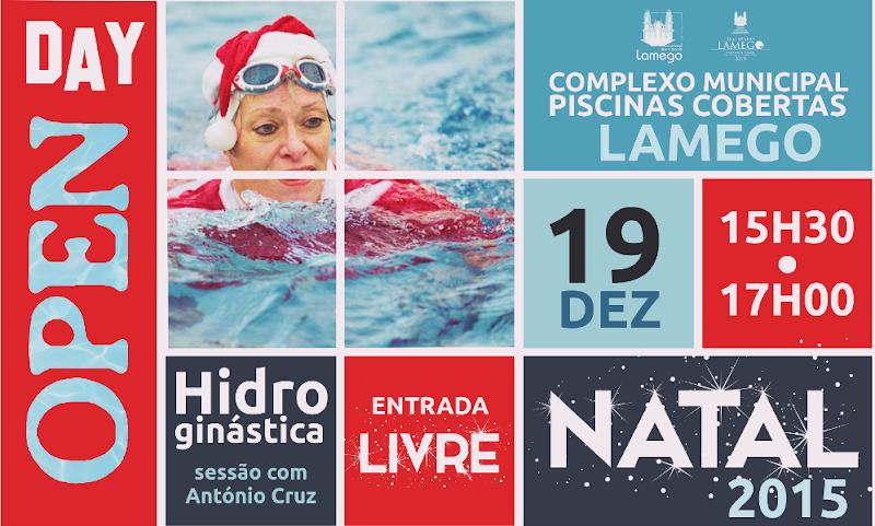 Hidroginástica gratuita celebra o Natal nas Piscinas Cobertas