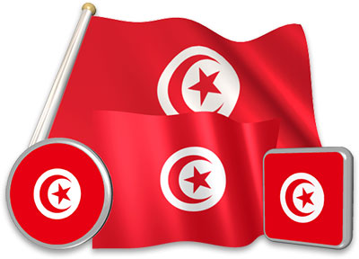 Tunisian flag animated gif collection