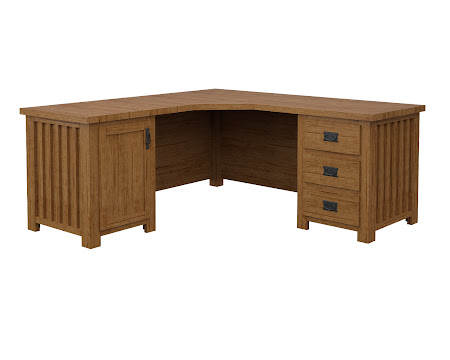 Mission L-Shaped Desk in Como Maple