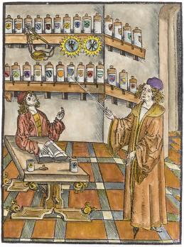 Woodcut From Hortus Sanitatis Strasbourg C1497, Alchemical Apparatus