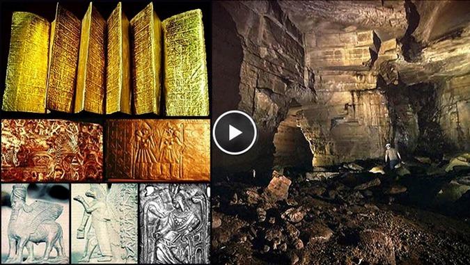 Biblioteca de ouro em cavernas de gigantes