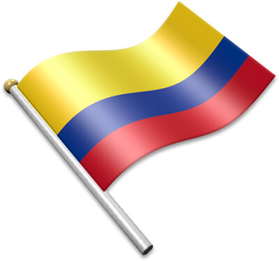 The Colombian flag on a flagpole clipart image