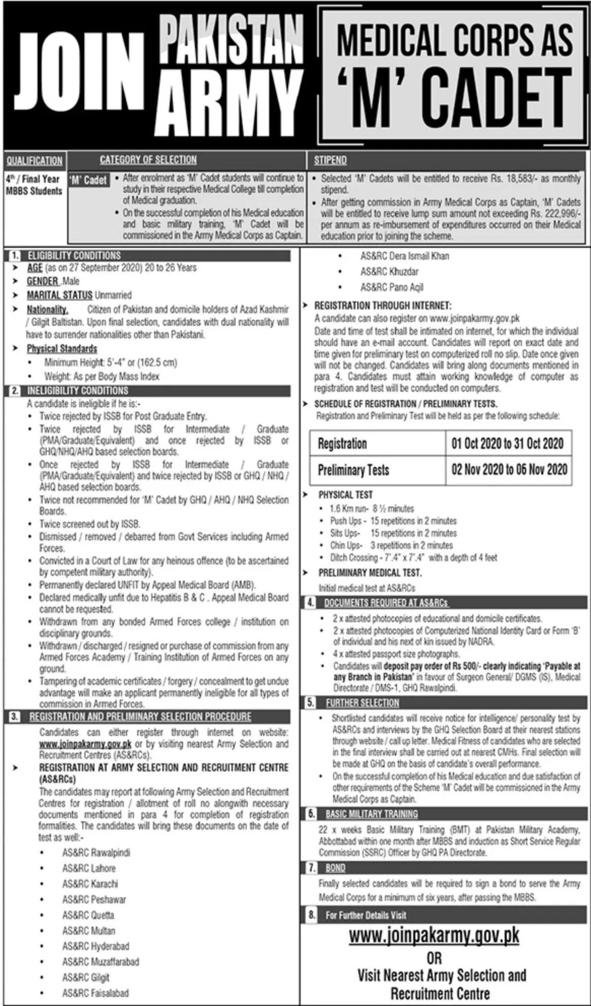 Pak Army Medical Corps As M Cadet Jobs Advertisement