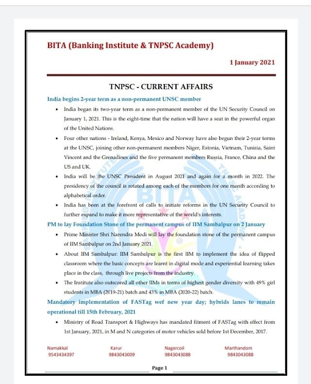 TNPSC Exam - Today Current  Affairs By BITA Academy ( 01 January  2021 )