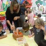 Nursery carve pumpkins for Halloween