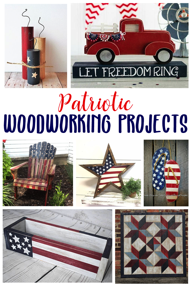 Patriotic woodworking projects in red white and blue. The perfect wood building projects for the fourth of july.
