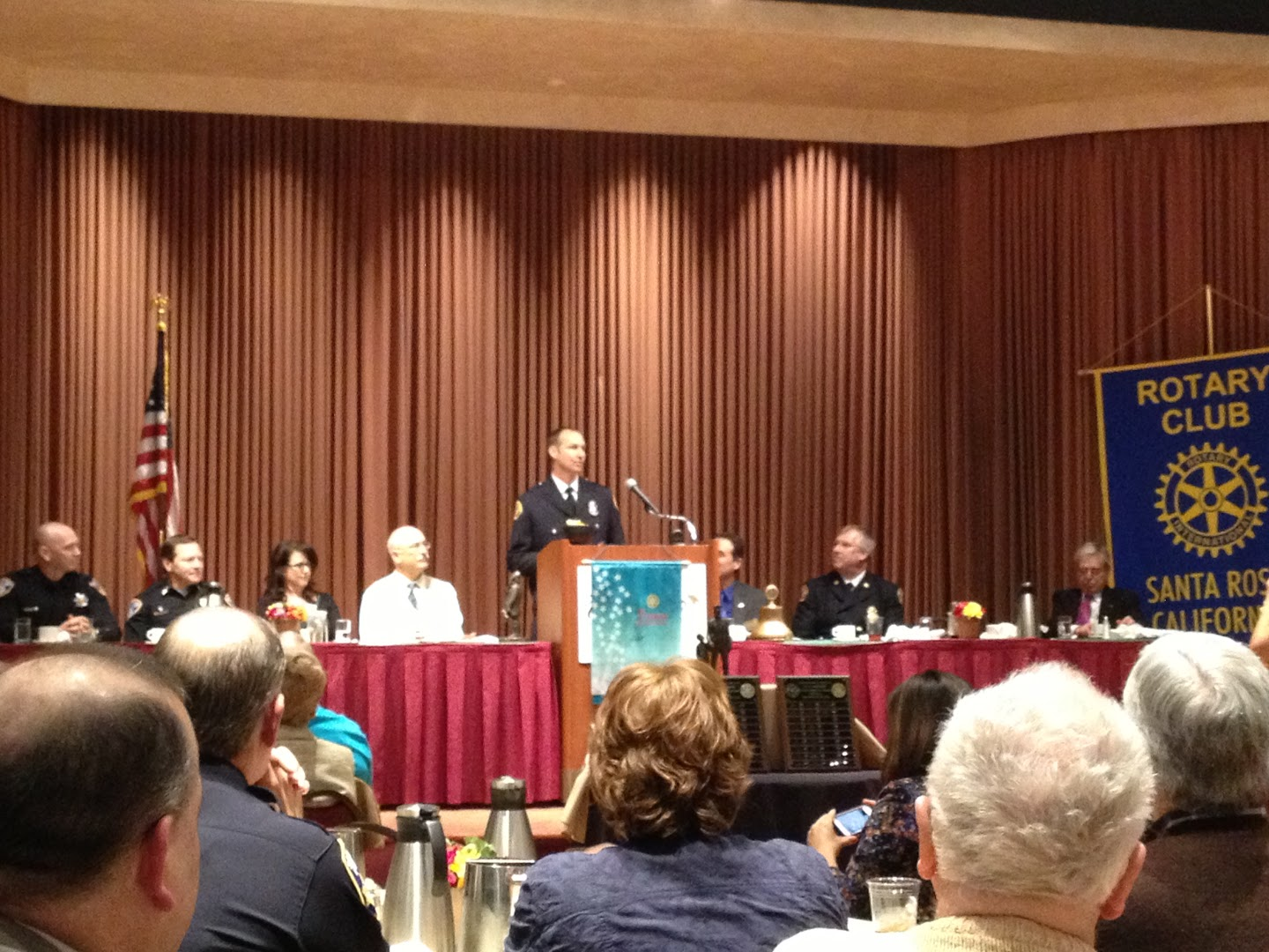 Firefighter of the Year 2012 Ron Schull addresses the group