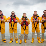 RNLI crew holding their thumbs up in honour of the late fundraiser Stephen Sutton. L-R: Alan Carr (Gravesend), Martin Galloway (St Abbs), Anne Millman (Poole), Dave Riley (Poole), Matthew Gibbons (North Berwick) 30 May 2014 Photo: RNLI/Nathan Williams