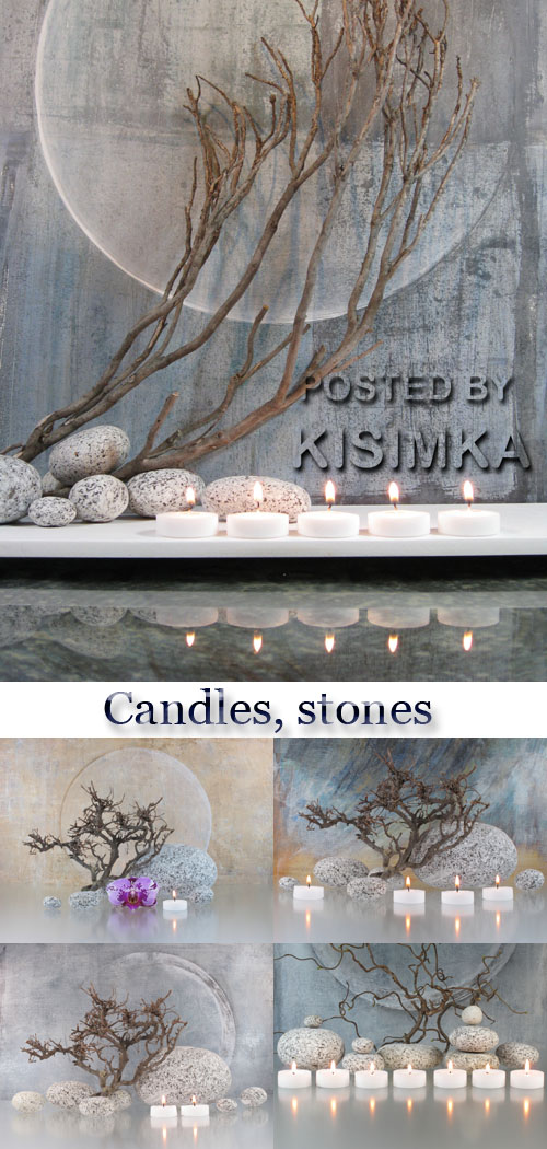 Stock Photo: Candles, stones and branches in a composition
