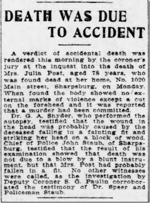Julia OReilly death an accident Pittsburgh Press 12_21_1906 pg 25