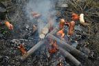 Důstojné spálení starých tyčí na tee-pee.