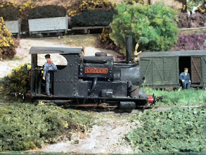 """Photo: 015 A close up of David's first loco, 0-6-0ST Creech. Students of """"bashed 009 loco provenance"""" may be able to spot the Roco feldbahn chassis under the scratchbuilt body ."""