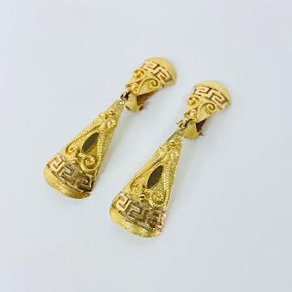 18K Gold Pendant Earrings