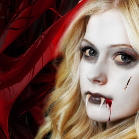 Vampire by Sandeep Suman - Digital Art People ( edited, sweet, girl, vampire, beautiful, creatures, night, cute )