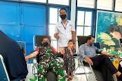 Peduli Sesama, Anggota Koramil 05/Mesjid Raya Ikuti Bakti Sosial Donor Darah