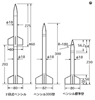 ペンシルロケットの図面