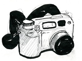 Olympus C-4000 in brush pen and pencil