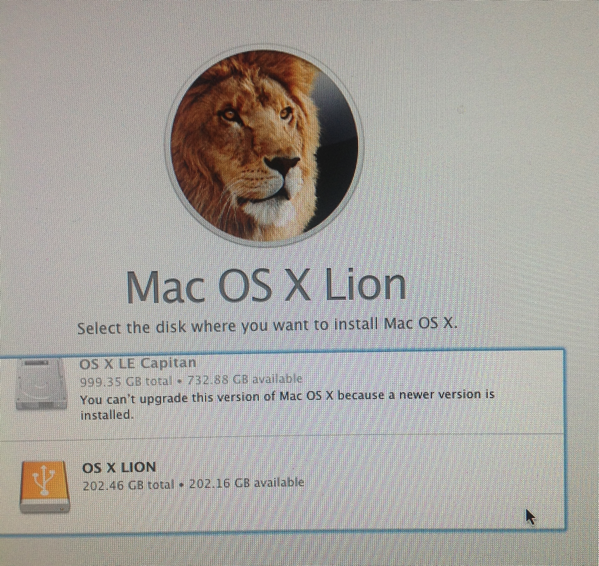 Where to install OS X Lion