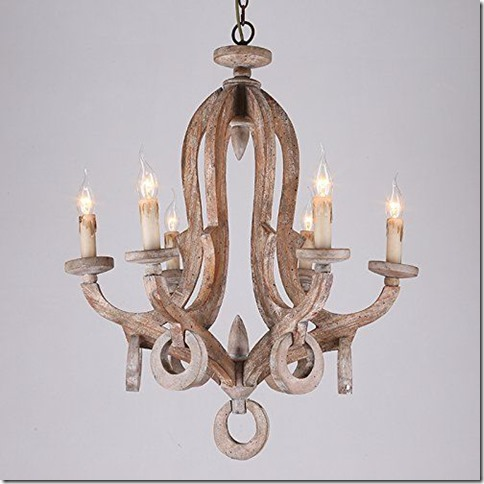 Rustic Cottage Chic Sculpted Wooden 6-Light Chandelier