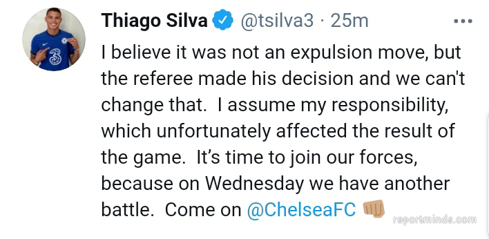 Thiago Silva apologize to Chelsea fans for his red card he received against West Brom