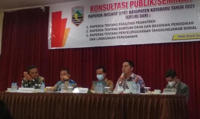 Legislatif Kotabaru Gelar Konsultasi Uji Publik atas 3 Tahapan Raperda