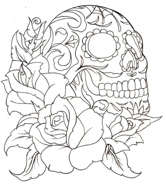 Roses Coloring Pages Sugar Skull