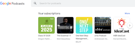 Screenshot of Google Podcast Subscriptions