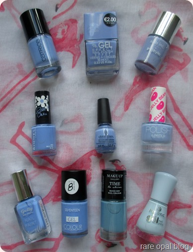 Pantone Color Colour of the Year Serenity Nail Polish Pick Catrice Ultimate Nail Lacquer in The Sky So Fly, PS Gel Effect in Bluebell, Nails Inc Instyle 2012 special in Bluebell, Limited Collection Jelly Bean Polish in Spearmint, China Glaze in Boho Blues, Rimmel Rita Ora in Bestival Blues, Barry M Gelly Hi-Shine in Blueberry, Seventeen Gel Colour in Azure Amore, Make Up Gallery Time to Shine in Sky Blue and Essence Gel Nail Polish in Itsy Bitsy Blue Bikini