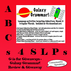 ABCs 4 SLPs: G is for Giveaways - Galaxy Grammar! Review and Giveaway image