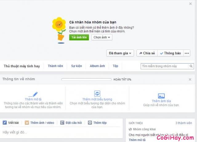 hoàn tất tạo nhóm facebook