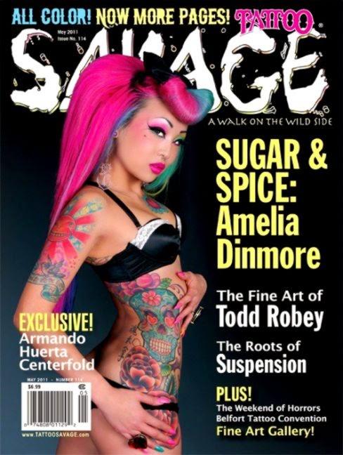 Savage Tattoo Magazine February 2011  Amelia in Wonderland