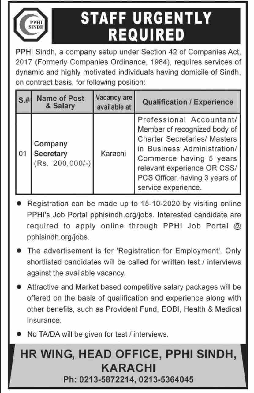 Peoples Primary Healthcare Initiative PPHI Jobs September 2020
