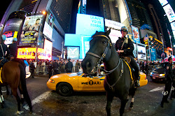 Mounted NYPD officers keep an eye on Occupy protesters at an October rally in Times Square.