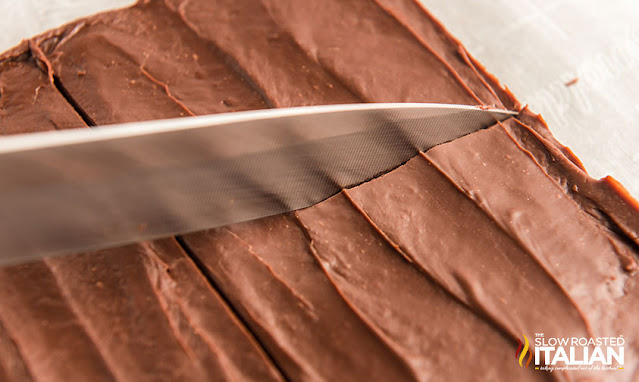 cutting homemade fudge